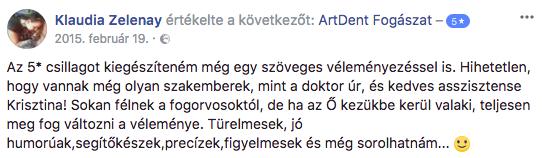 Artdent budapesti fogászati és szájsebészet egyik facebook értékelése a bölcsesséfog eltávolítás kezelésről.