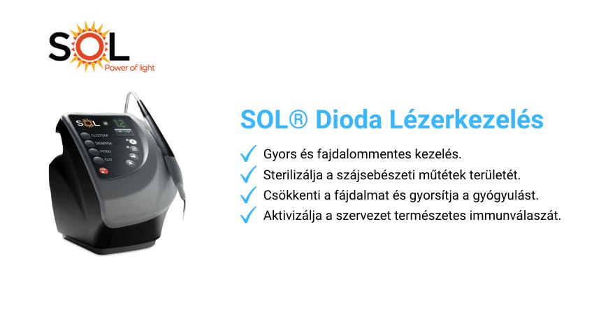 A SOL dioda lézerkezélés előnyeit ismertető kép.